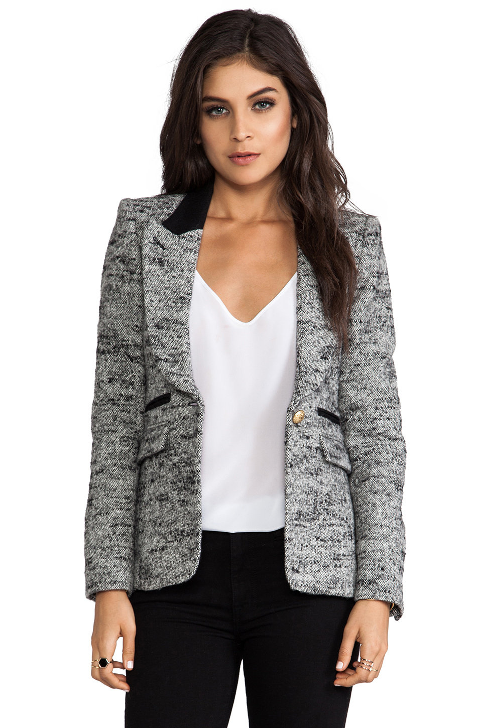 Smythe Peaked Lapel Blazer in Gray at Revolve Clothing