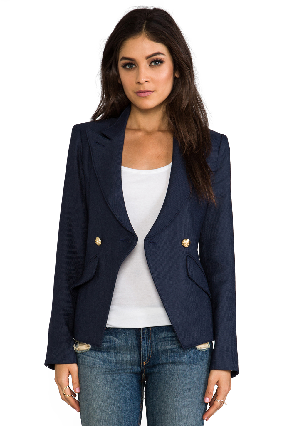 Smythe Crossover Blazer in Navy at Revolve Clothing