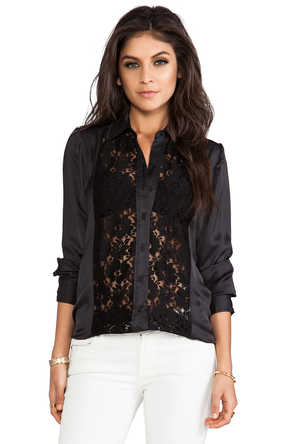 Smythe Lace Panel Shirt in Black at Revolve Clothing