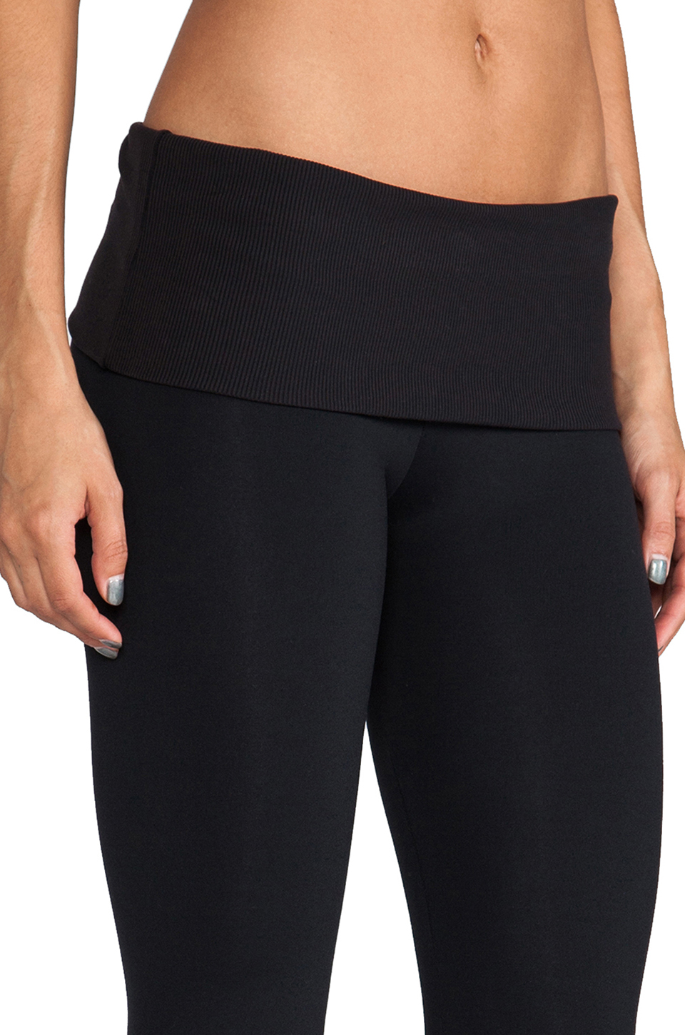 SOLOW Eclon Legging with Footholes & Fold Over Waistband in Black