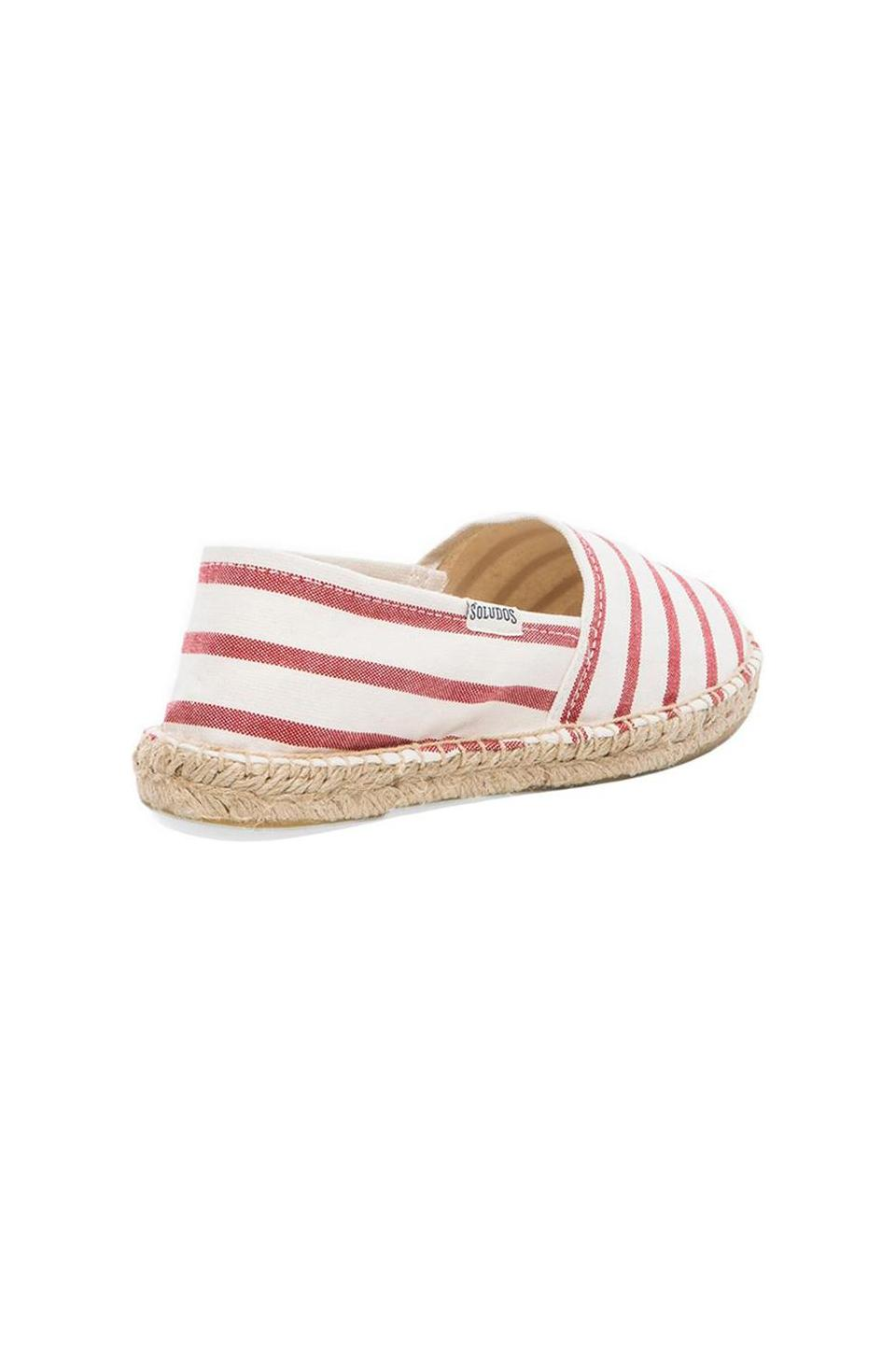 Soludos Classic Stripe Flat in White & Red