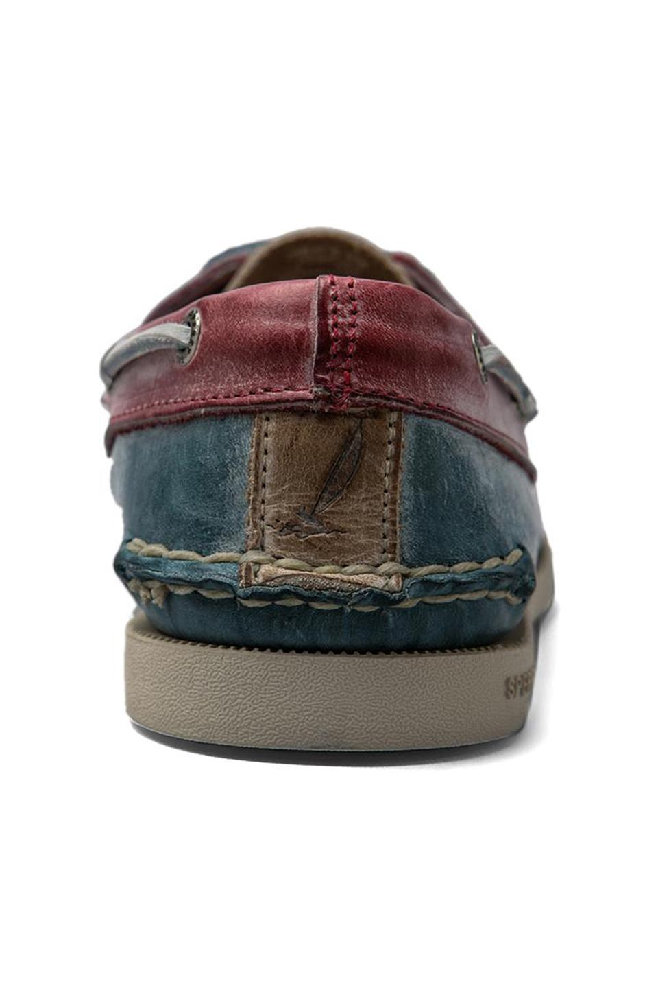 Sperry Top-Sider A/O 2-Eye White Wash in Blue/Tan/Red