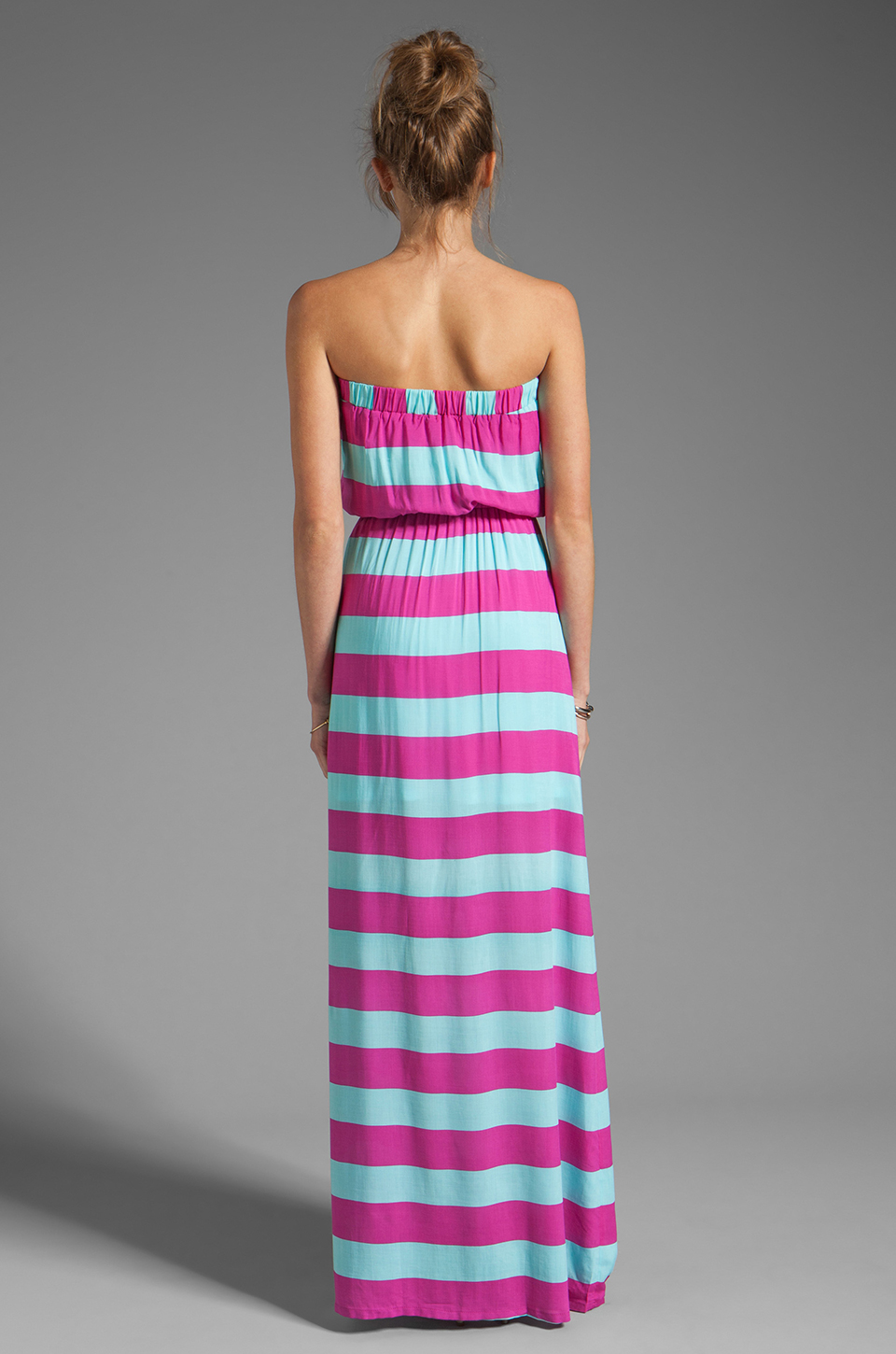 Splendid Magnolia Stripe Maxi Dress in Waterfall/Plum