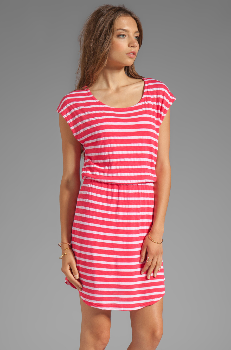 Splendid Short Sleeve Stripe Dress in Punch