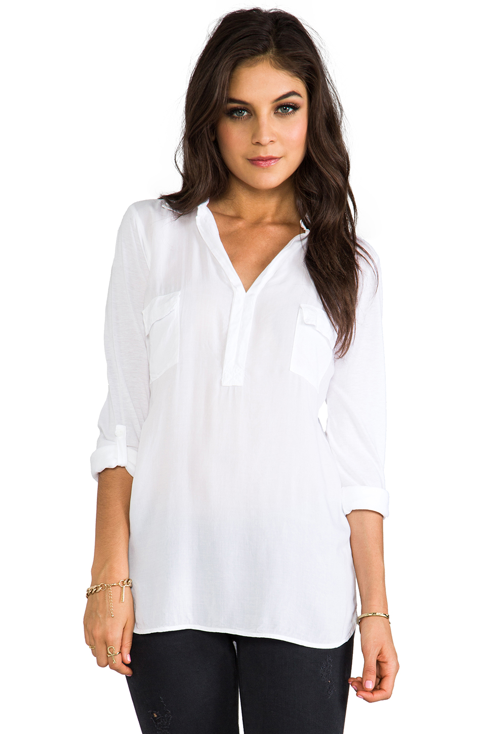 Splendid Blouse with Pockets in White