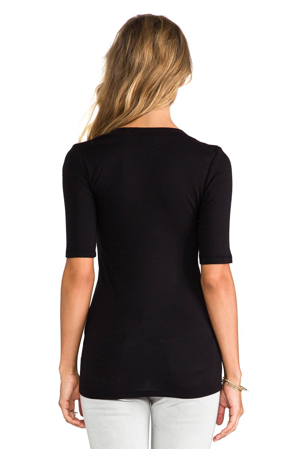 Splendid 1x1 V Neck in Black