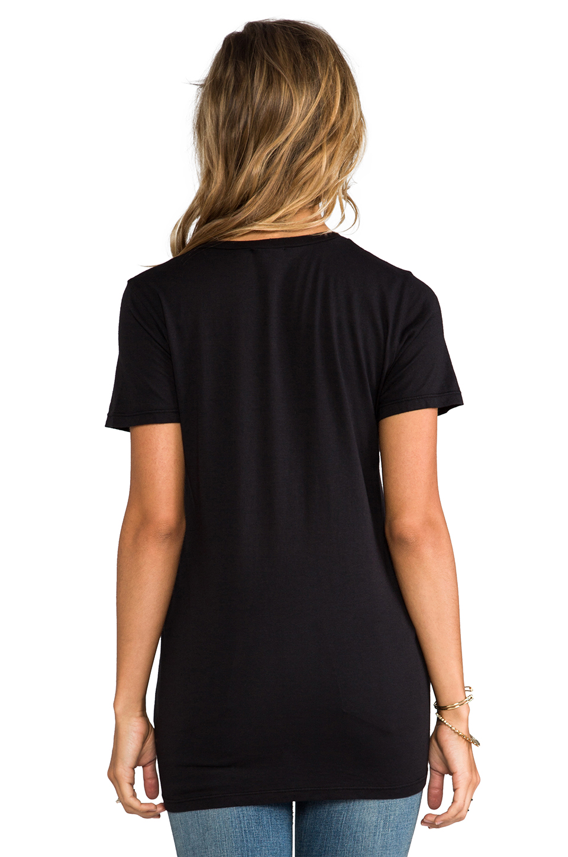 Splendid Very Light Jersey V Neck Tee in Black