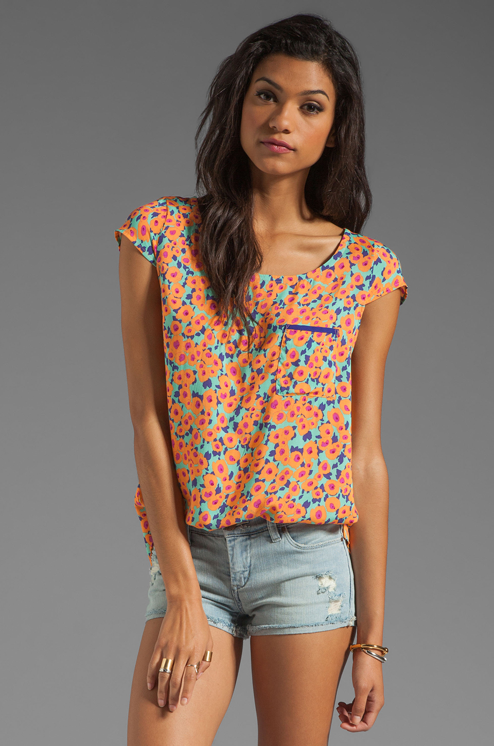 Splendid Watercolor Floral Pocket Top in Apricot