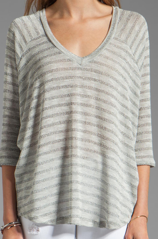 Splendid Disco Stripe Loose Knit Top in Heather Grey