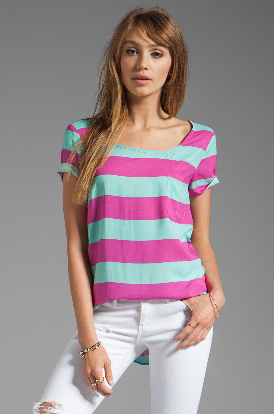 Splendid Magnolia Stripe Top in Waterfall/Plum