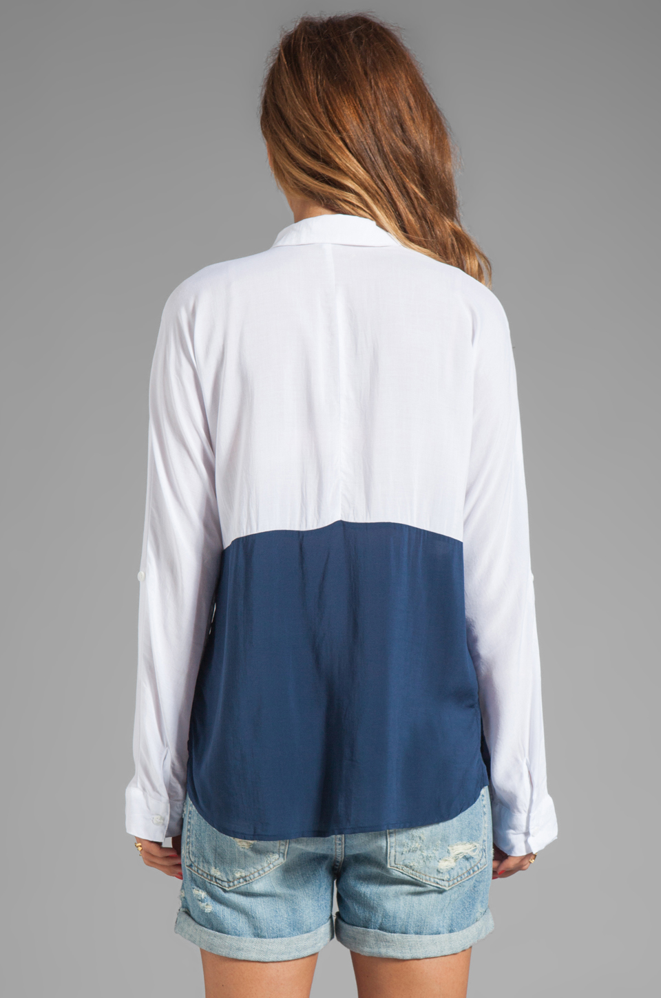 Splendid Color Blocked Button Up Top in Navy/White