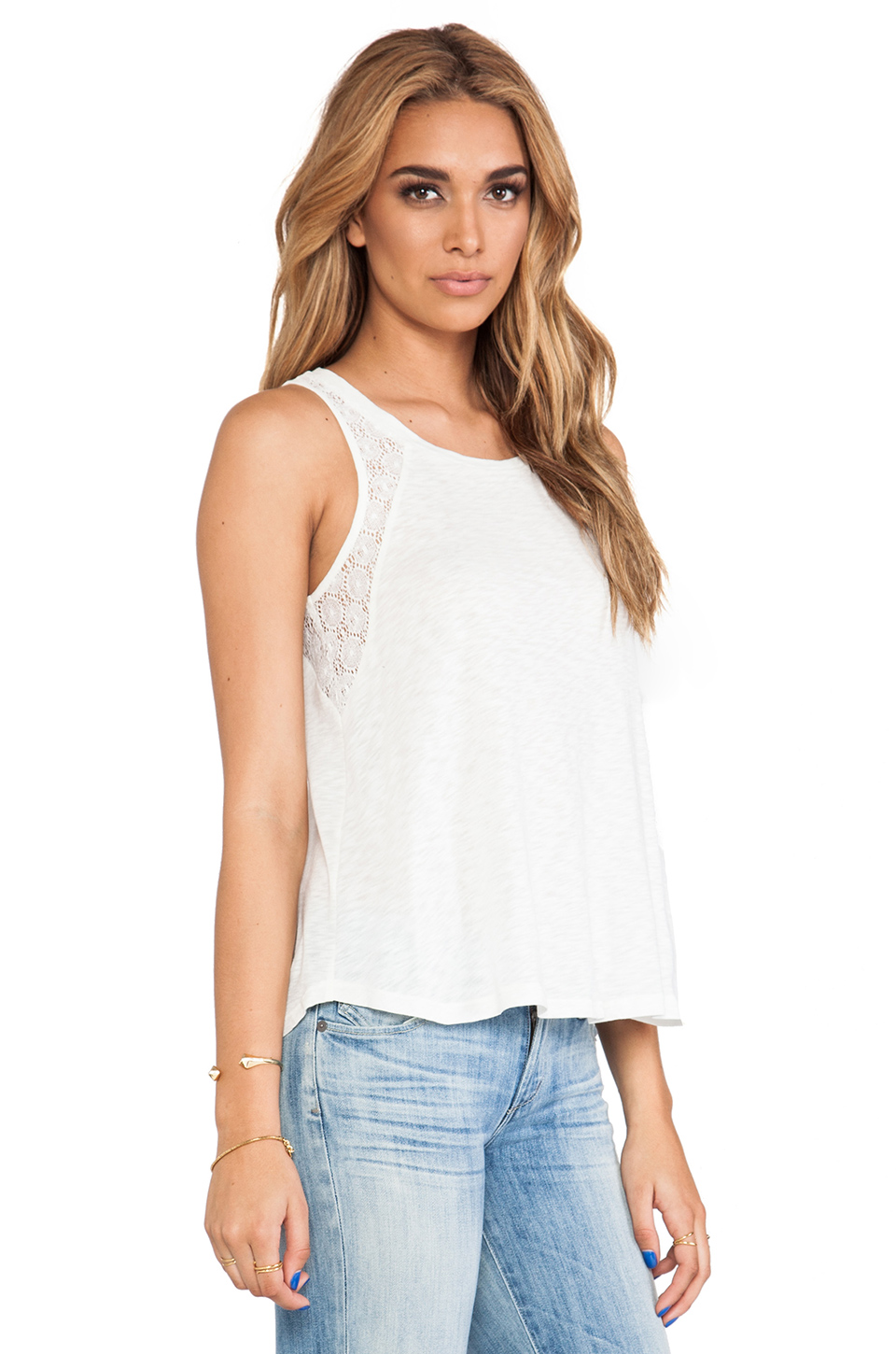 Splendid Lace Slub Tank in Sand Dollar