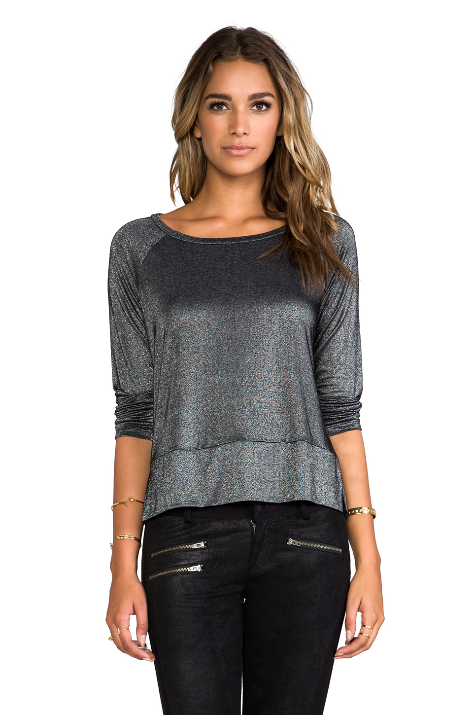 Splendid Drapey Lux Tee in Black/Silver