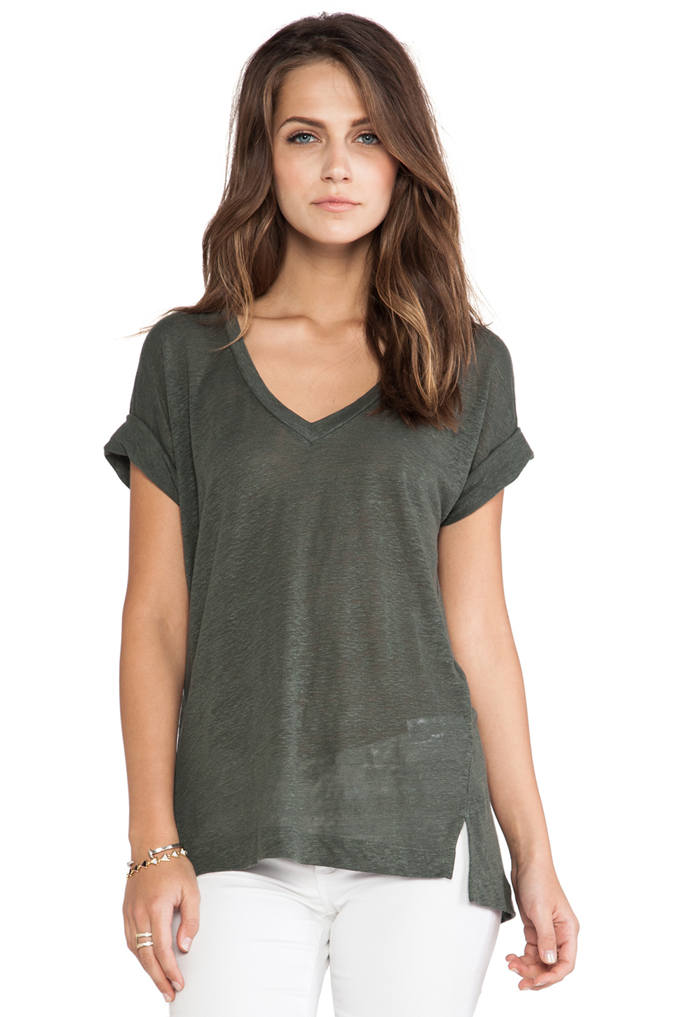 Splendid Linen Jersey V-Neck Tee in Brown