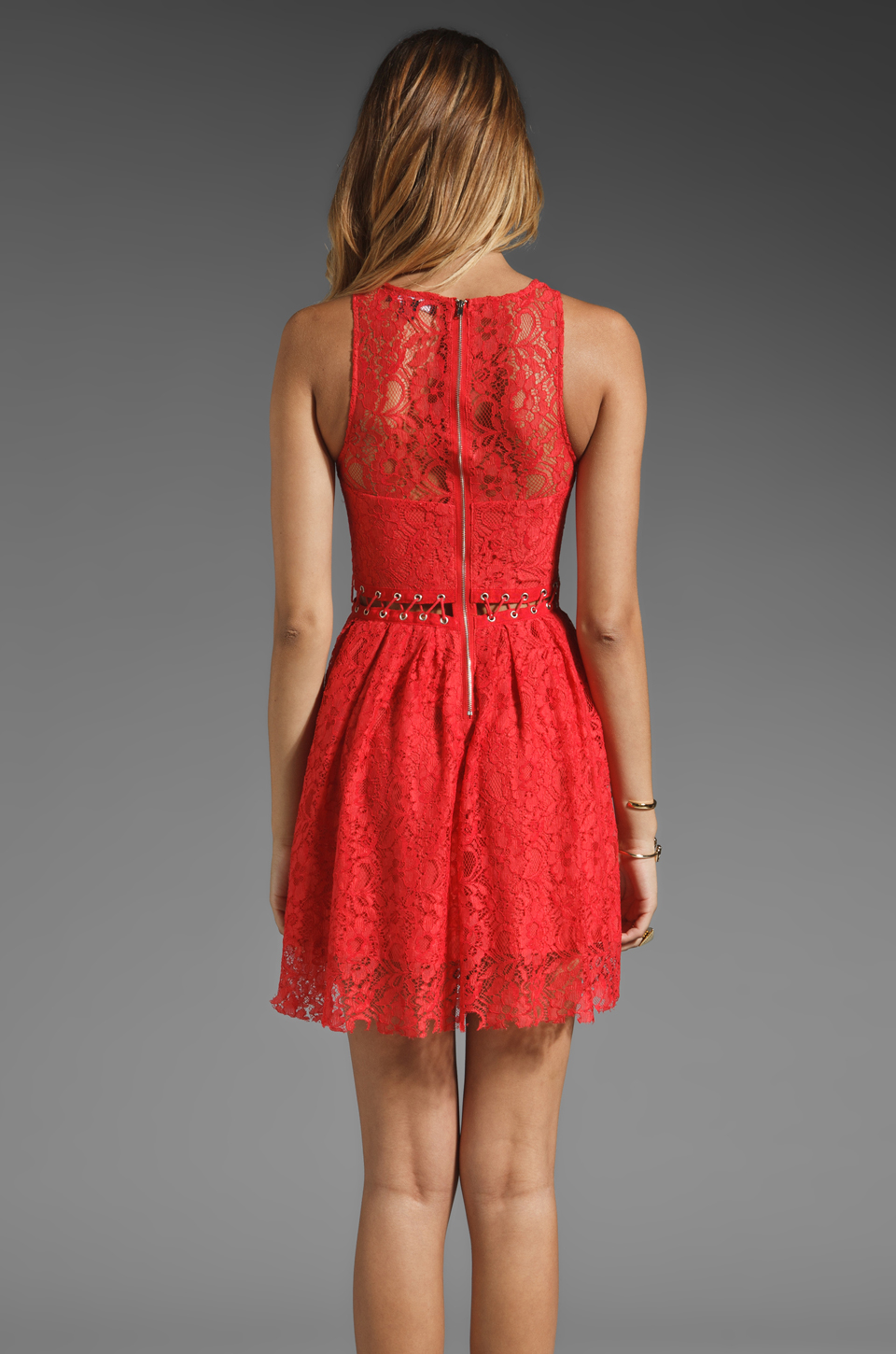 Style Stalker Love Me Do Lace Up Dress in Coral Red
