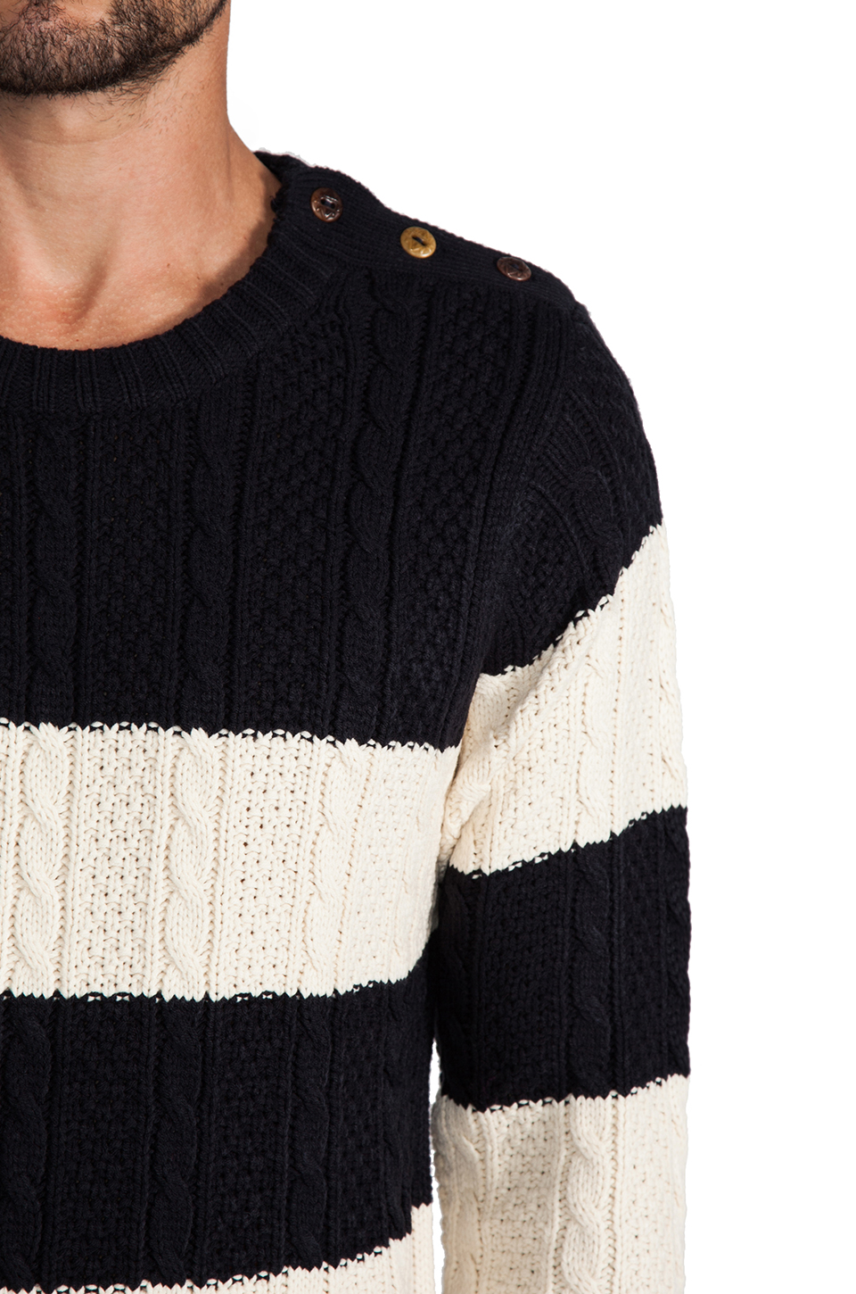 Scotch & Soda Structured Monsanto Pullover in Navy/Off White