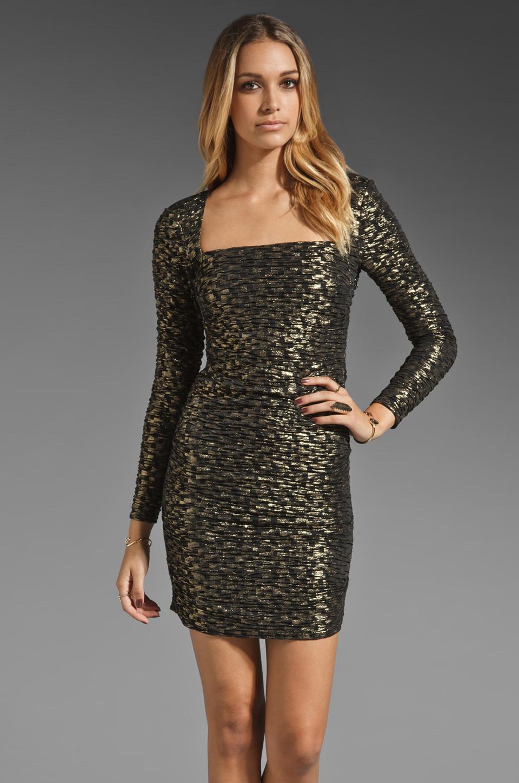 T-Bags LosAngeles Long Sleeve Mini Dress in Black/Gold