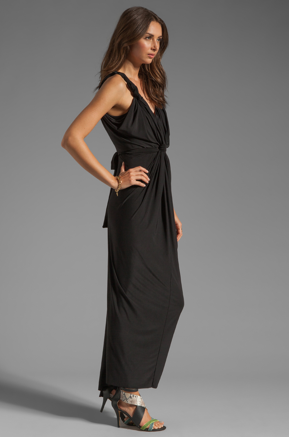 T-Bags LosAngeles Drape Front Maxi Dress in Black