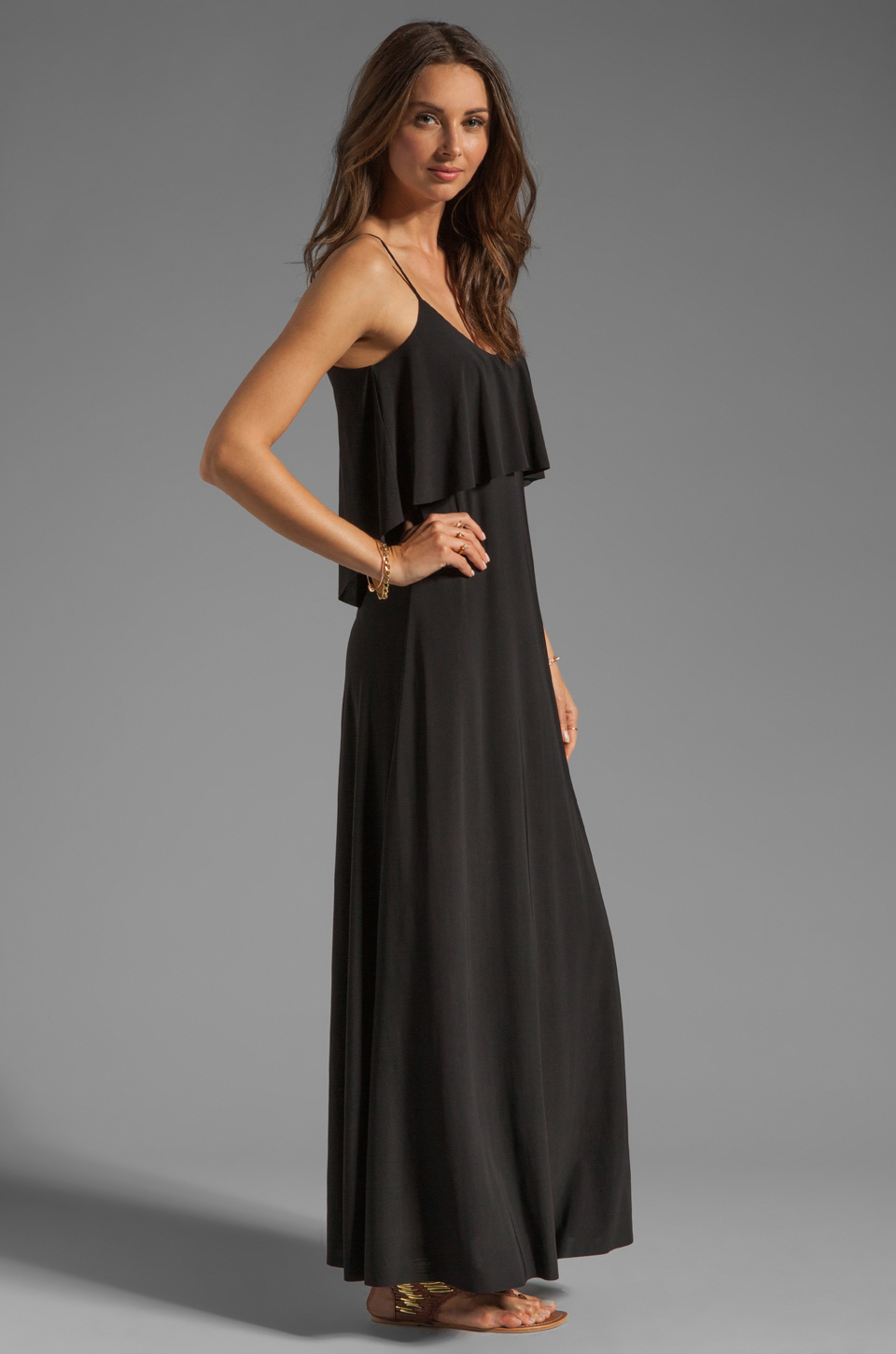 T-Bags LosAngeles Detail Back Maxi Dress in Black