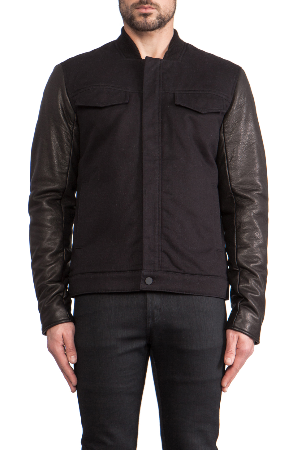 T by Alexander Wang Jean Jacket with Leather Sleeves in Black