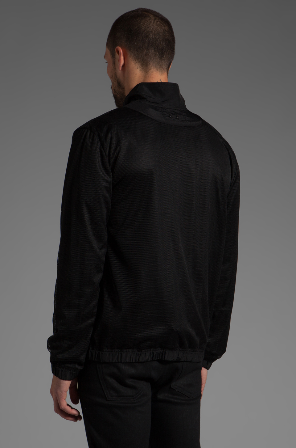 T by Alexander Wang Swim Nylon Mesh Inside Out Jacket in Black