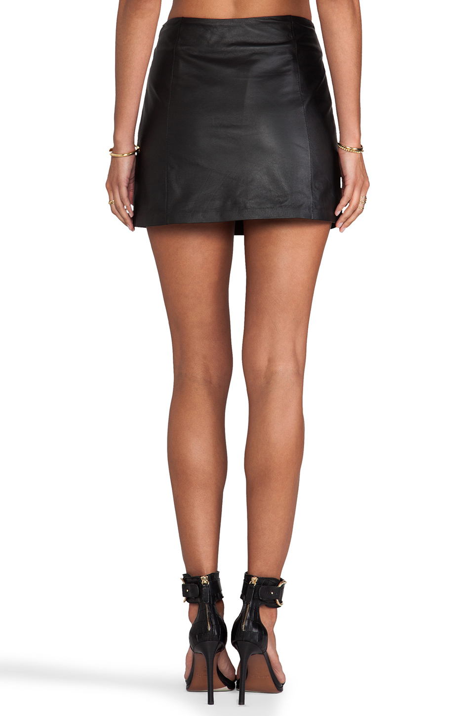 t by wang lightweight leather a line skirt in