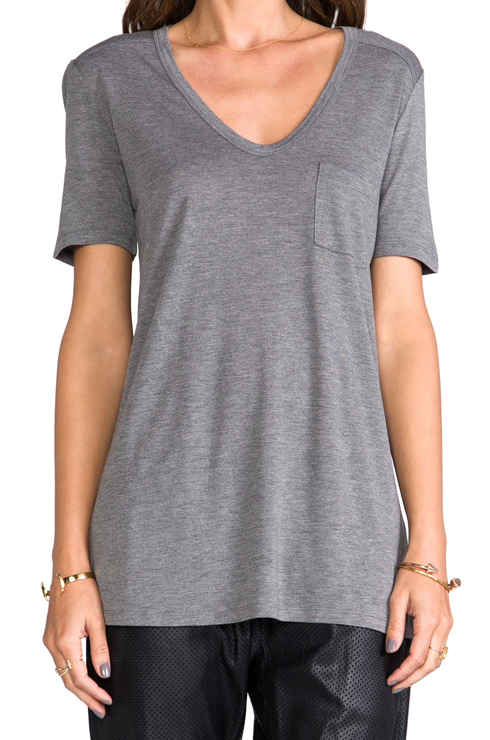 T by Alexander Wang Classic T with Pocket in Heather Grey