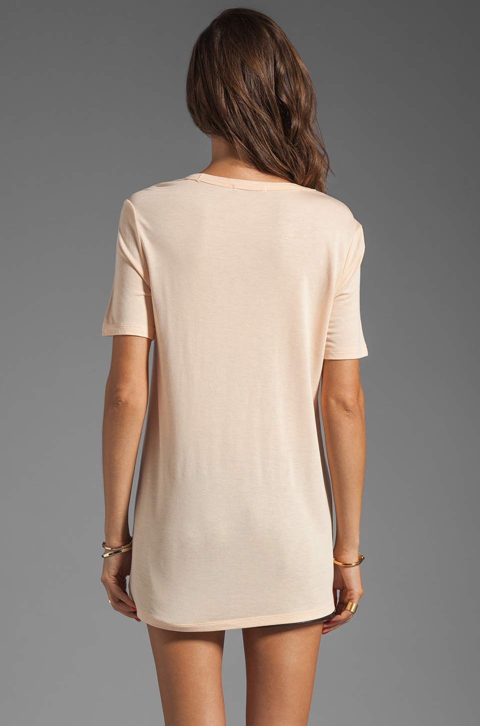 T by Alexander Wang Classic Tee with Pocket in Sorbet