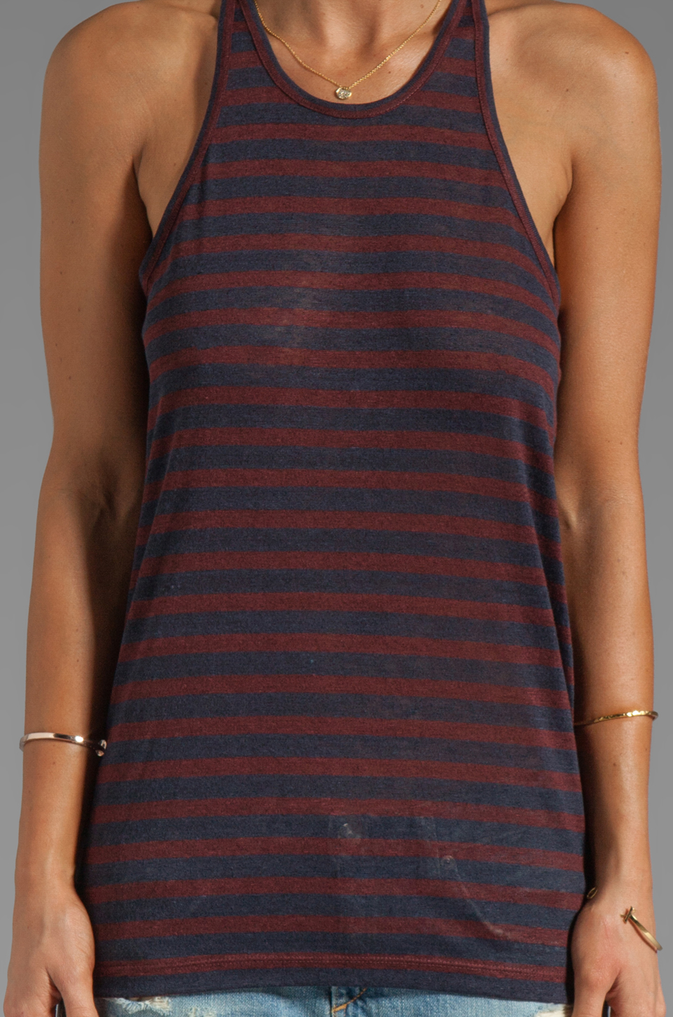 T by Alexander Wang Linen Stripe Tank in Ink/Iodine