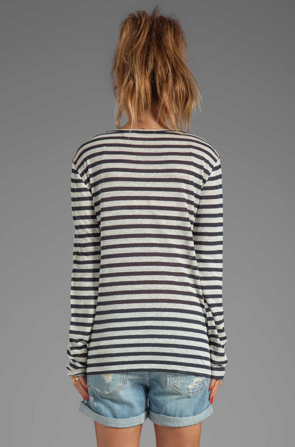 T by Alexander Wang Linen Stripe Long Sleeve Tee in Ink/Ivory