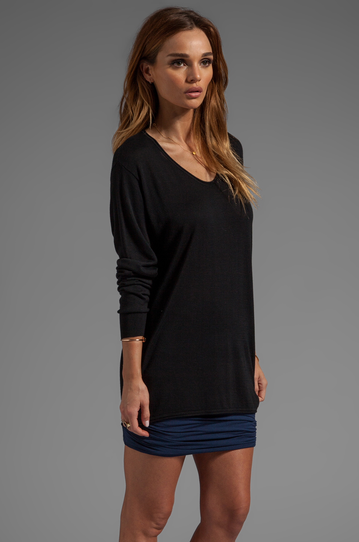 T by Alexander Wang Jersey Roll Low Neck Long Sleeve Knit in Black