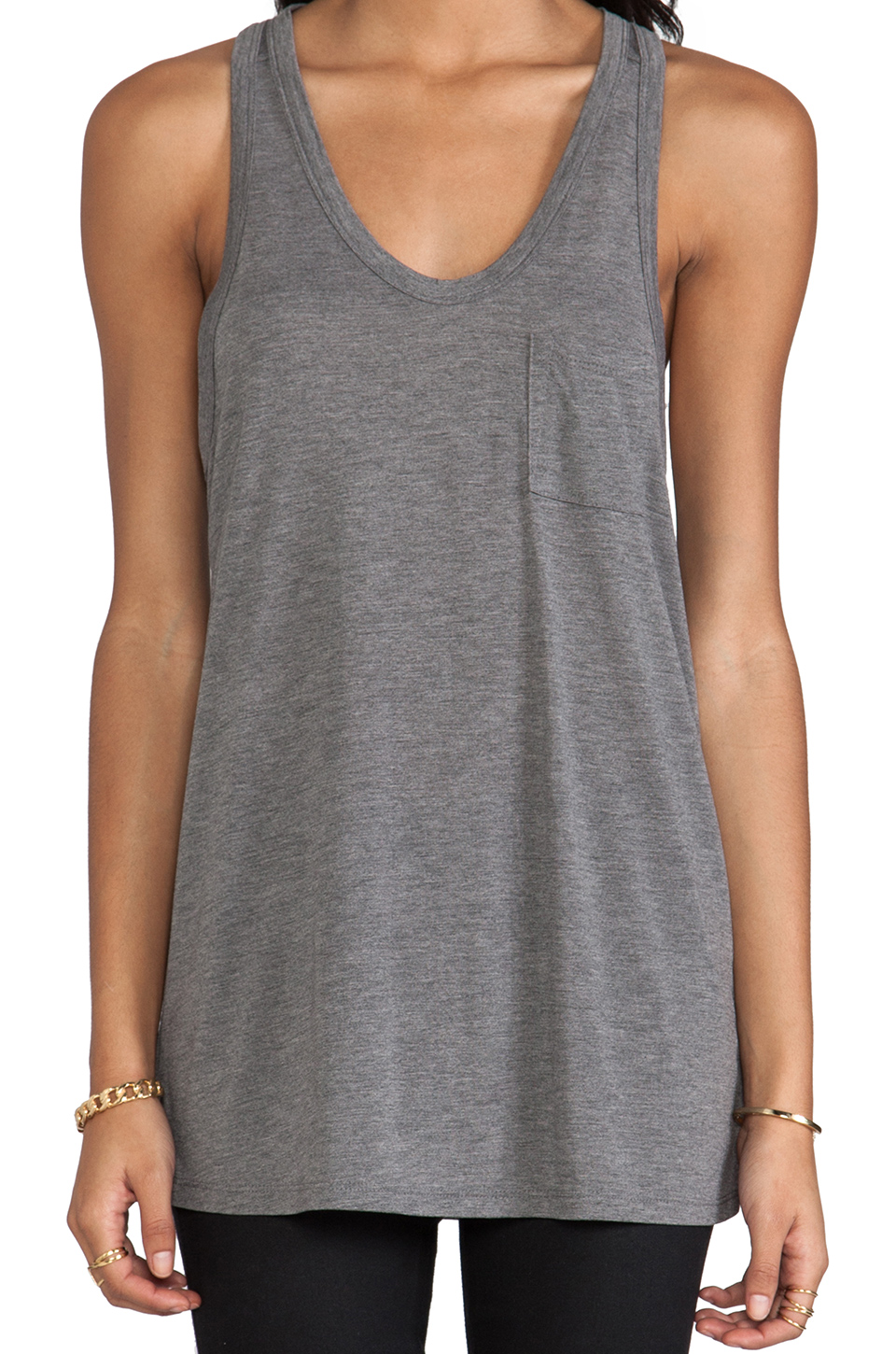 T by Alexander Wang Classic Tank Pocket in Heather Grey