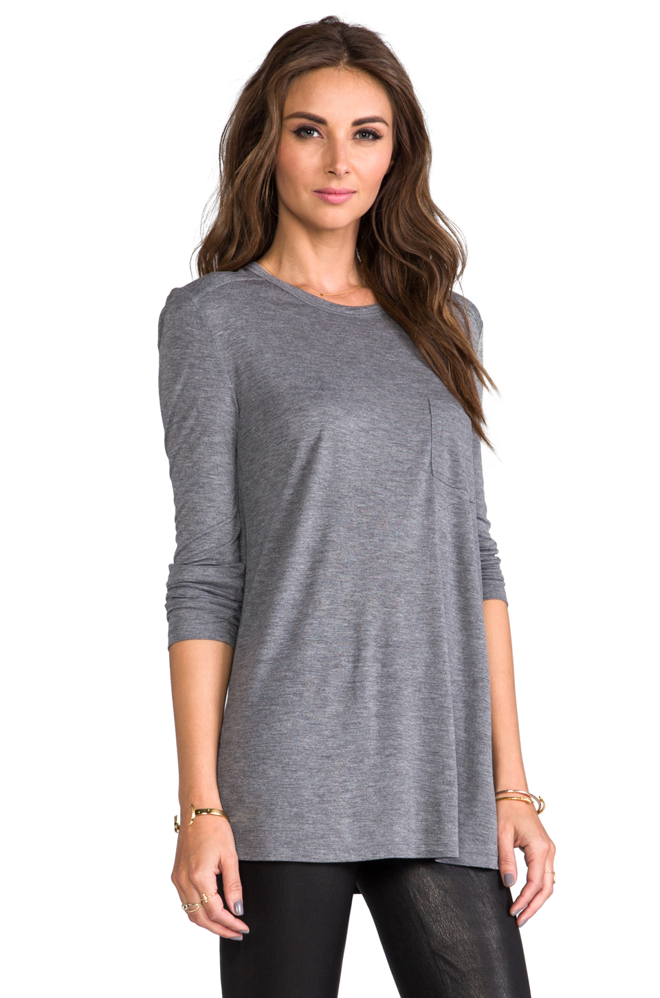 T by Alexander Wang Classic Long Sleeve Pocket in Heather Grey