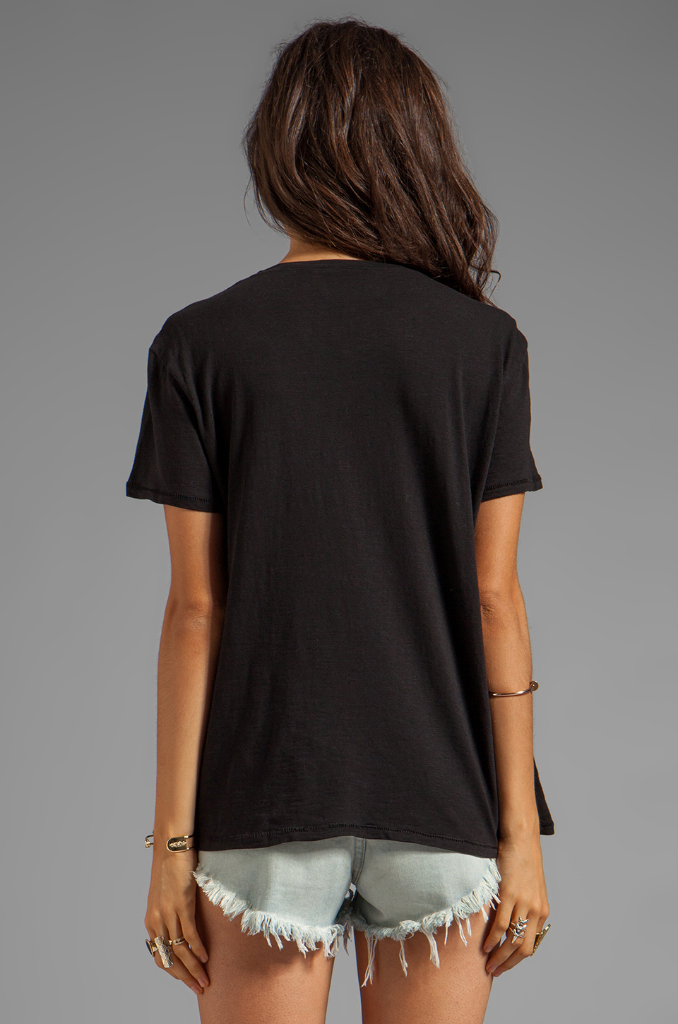 TEXTILE Elizabeth and James Slick Bowery Tee in Black/Grey