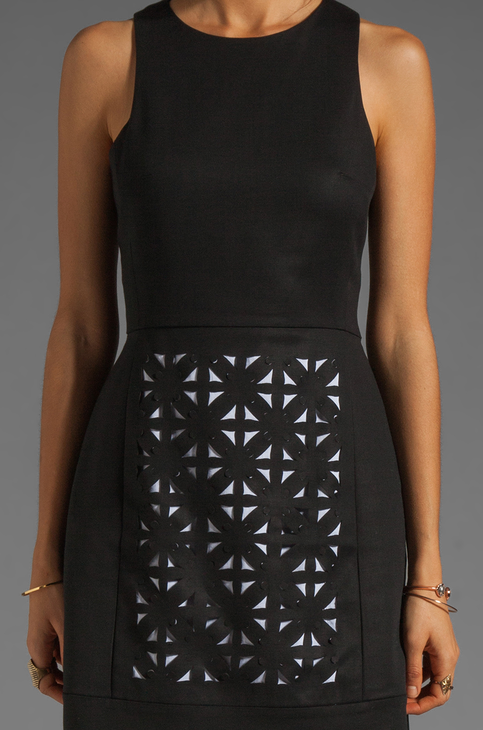 Tibi Pai Cut Out Sleeveless Dress in Black