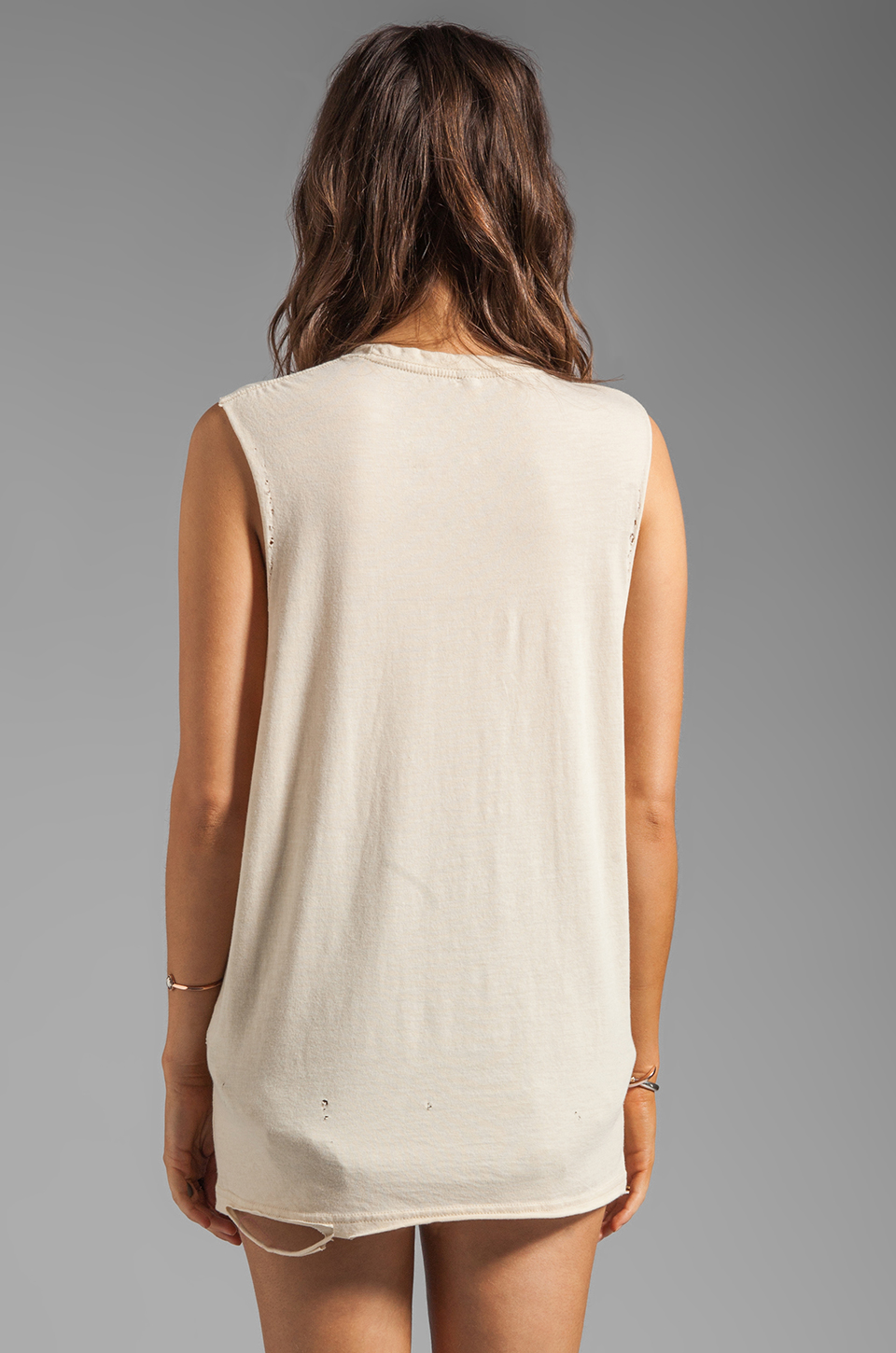 The Laundry Room Cal+fornia Lace Thrasher Muscle Tee in Nude