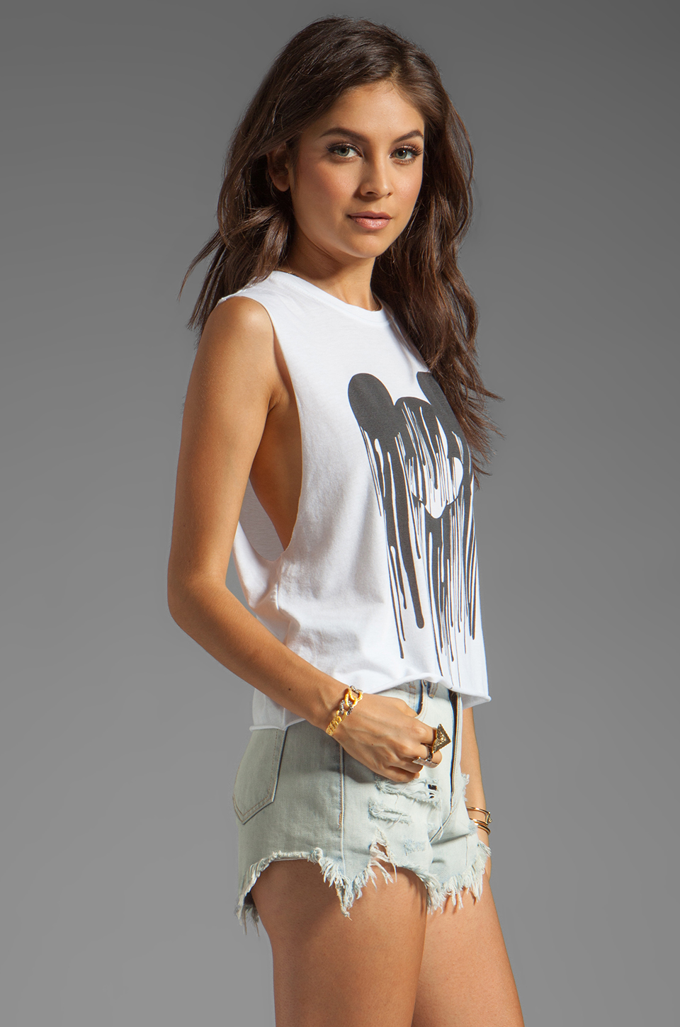 The Laundry Room Mickey Drip Crop Muscle Tee in White