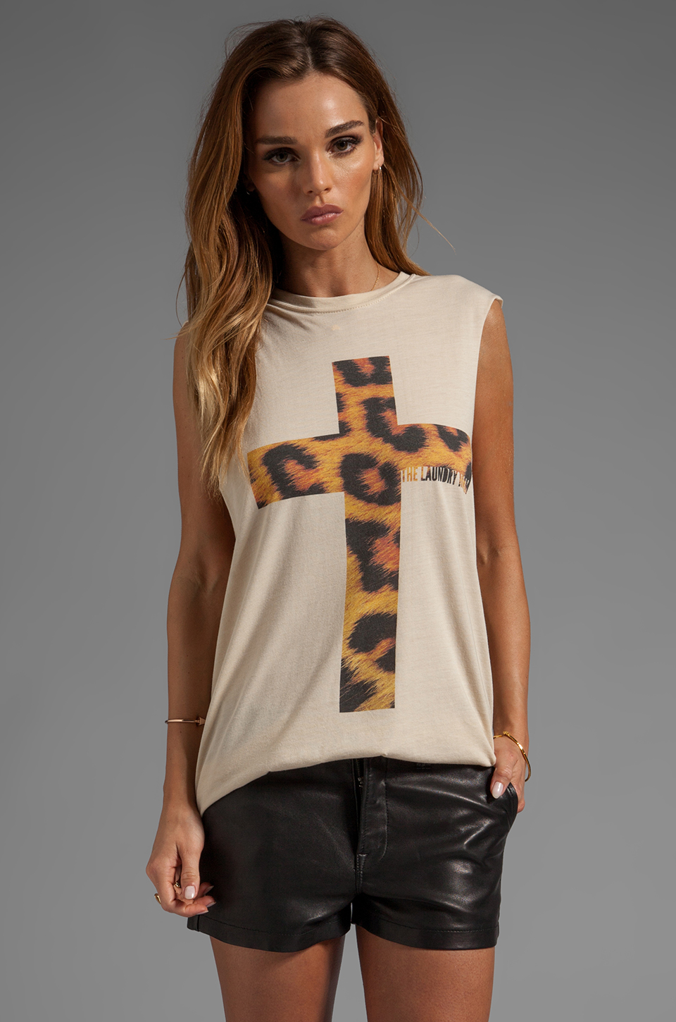 The Laundry Room Praise Cheetah Muscle Tee in Nude