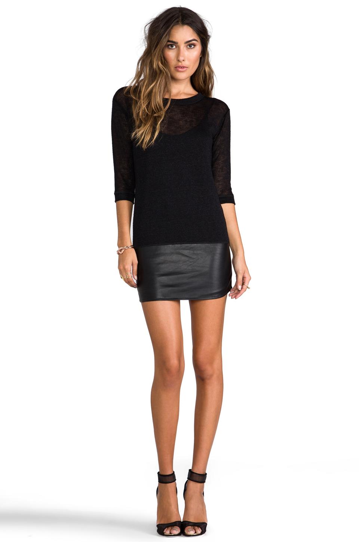 Tylie Leather Hem Knit Dress in Black