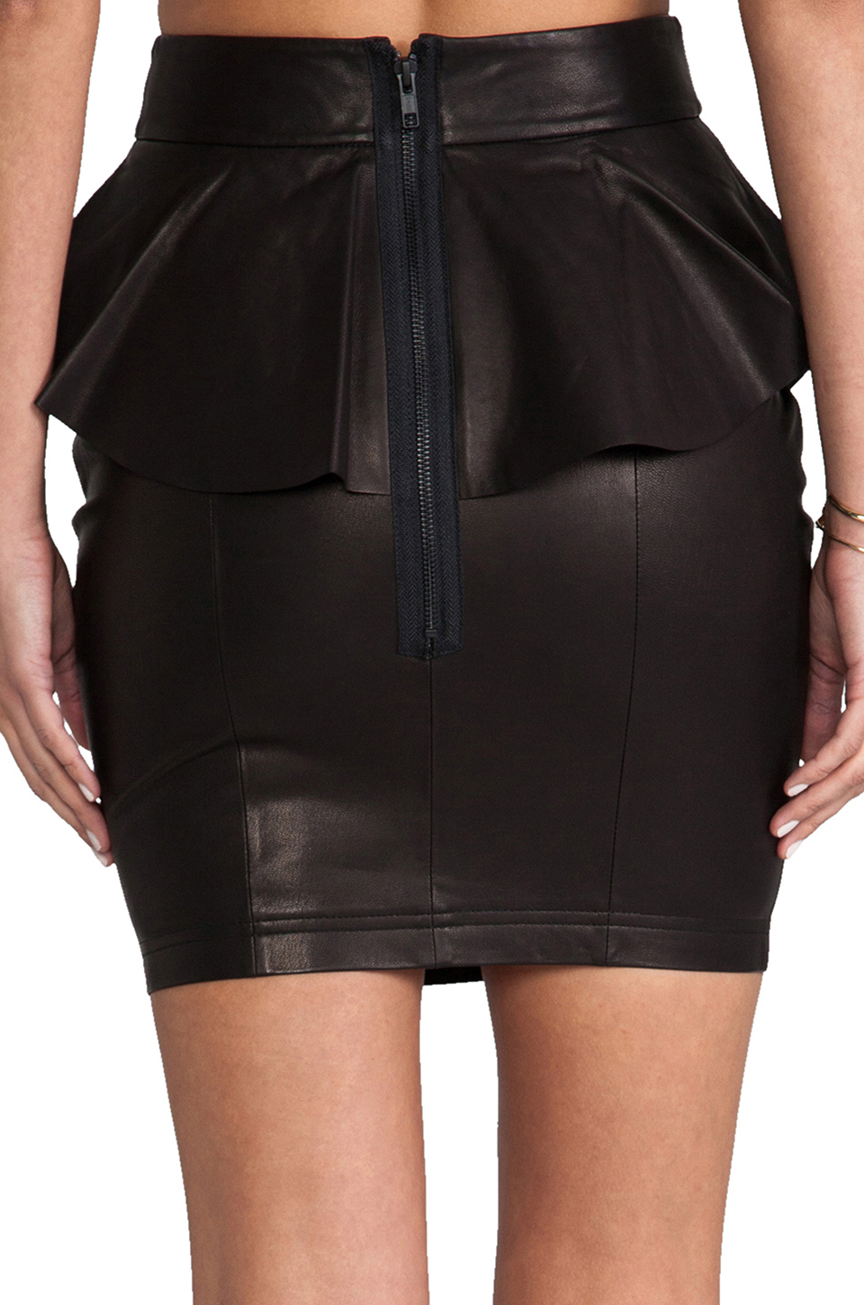 Torn by Ronny Kobo Gigi Leather Skirt in Black
