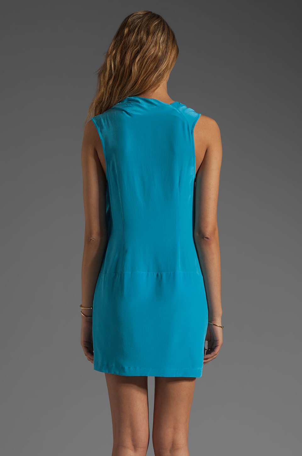Tracy Reese Soft Solids Surplice Shift Dress in Vivid Blue