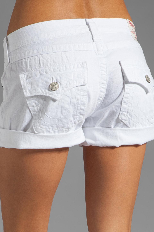True Religion Jayde Boyfriend Shorts in Optic White