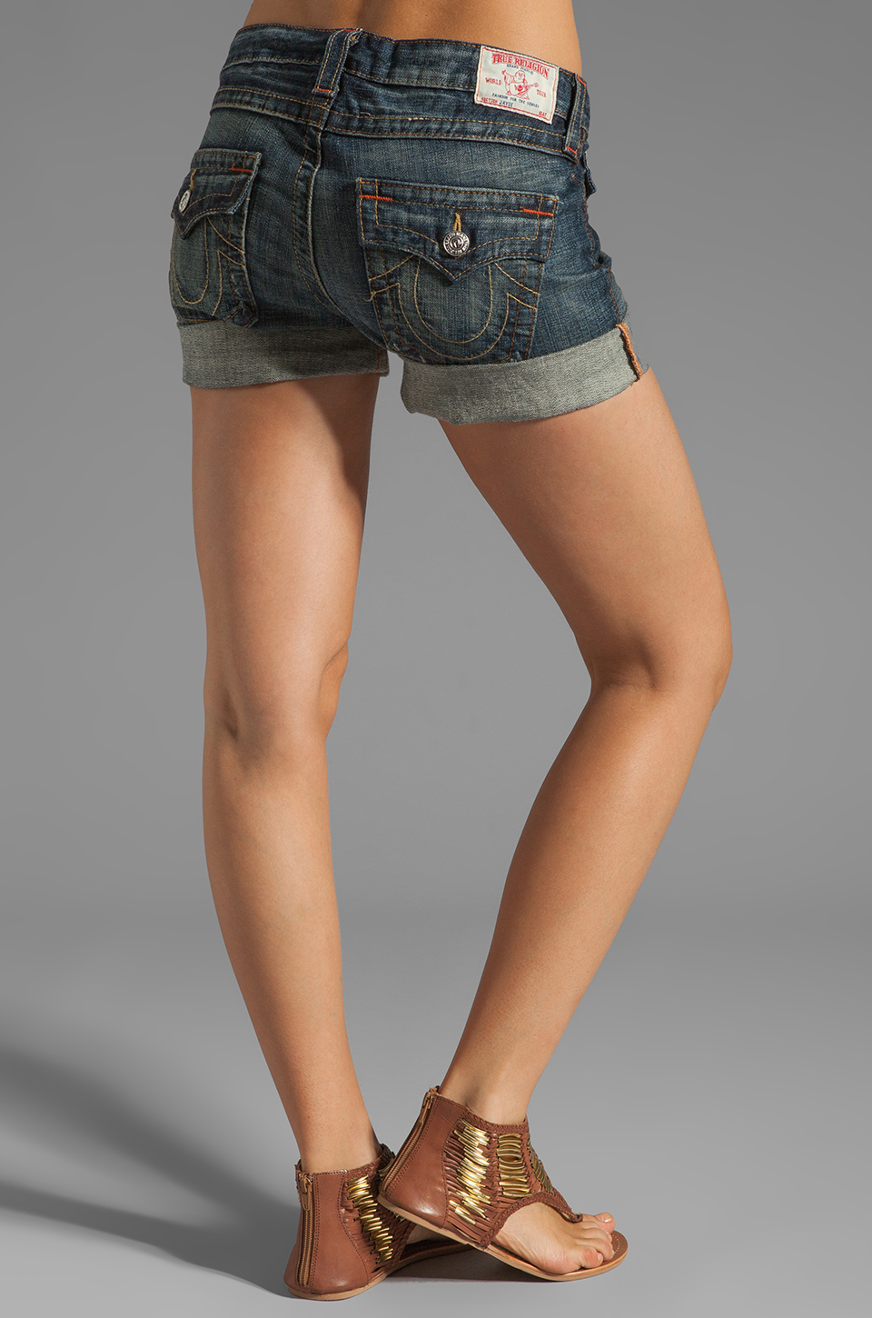 True Religion Jayde Boyfriend Shorts in Granite