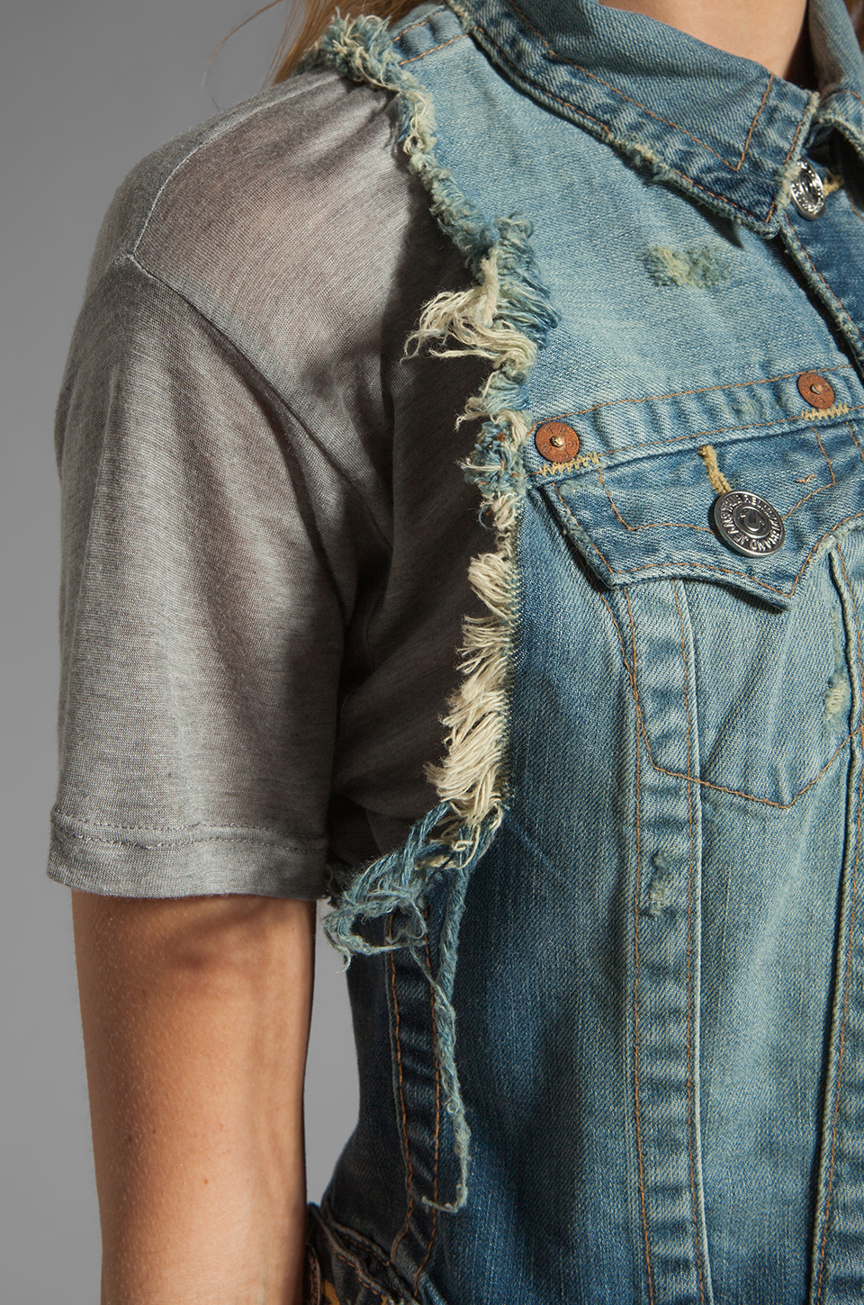 True Religion Leah Cut Off Vest in Point Dune