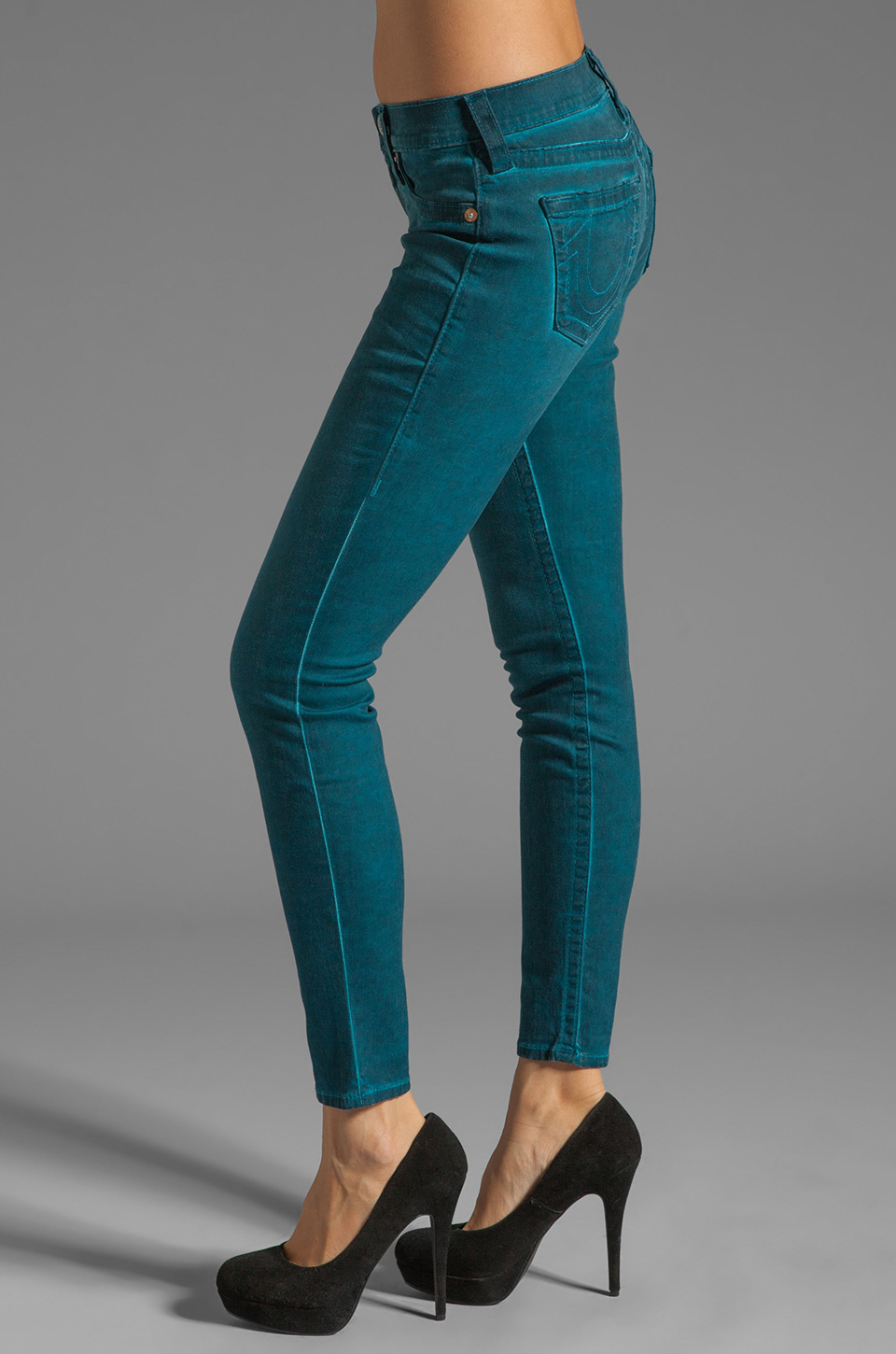 True Religion Casey Mid Rise Skinny in Peacock