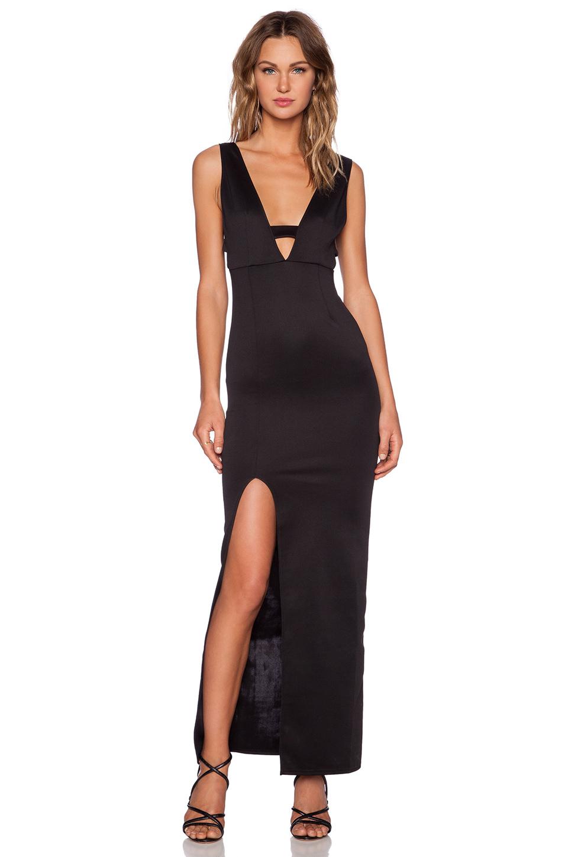 Twin Sister Bar Detail Maxi Dress in Black