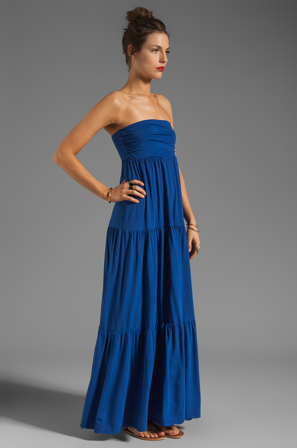 Velvet by Graham & Spencer Sheer Jersey Masha Maxi Dress in Blueberry