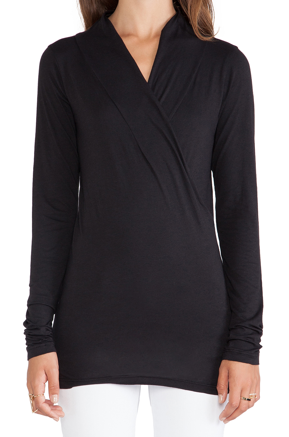 Velvet by Graham & Spencer Gauzy Whisper Classics Meri Wrap Top in Black