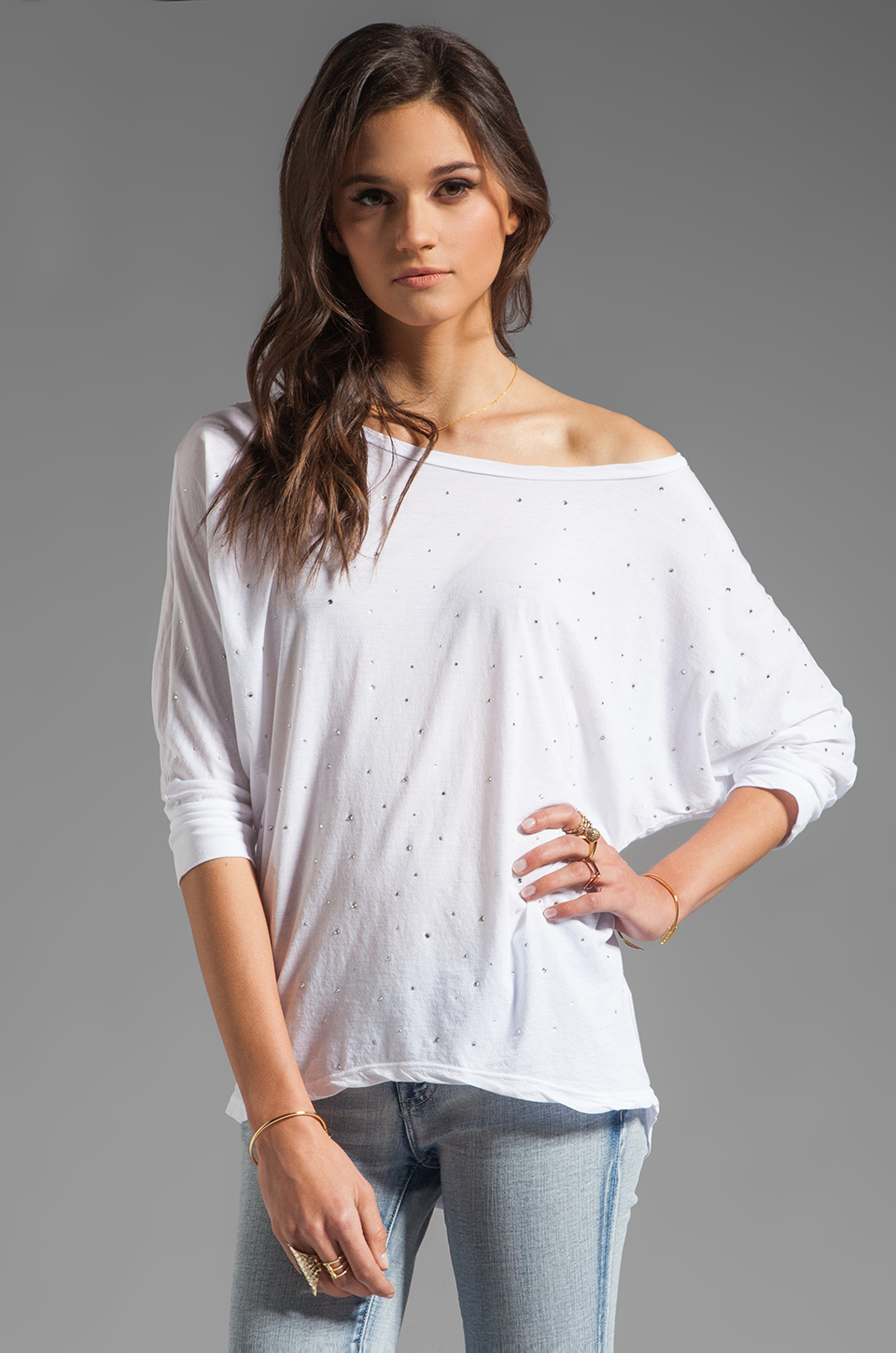 Velvet by Graham & Spencer Sheer Jersey Carden Top in White