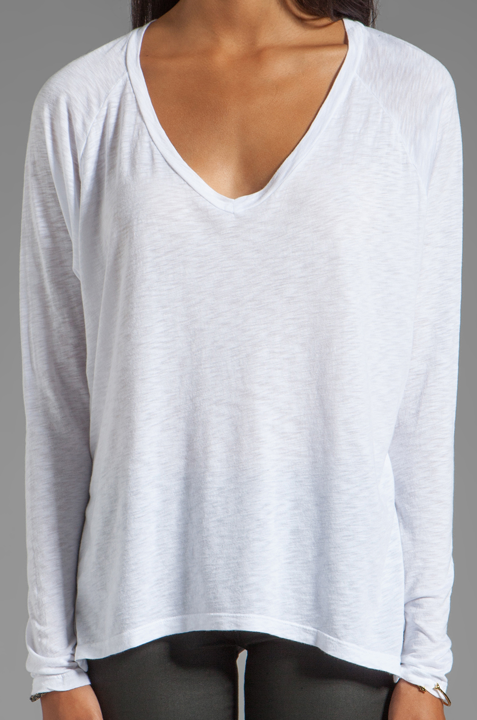 Velvet by Graham & Spencer Gala Lux Slub Long Sleeve V-Neck in White